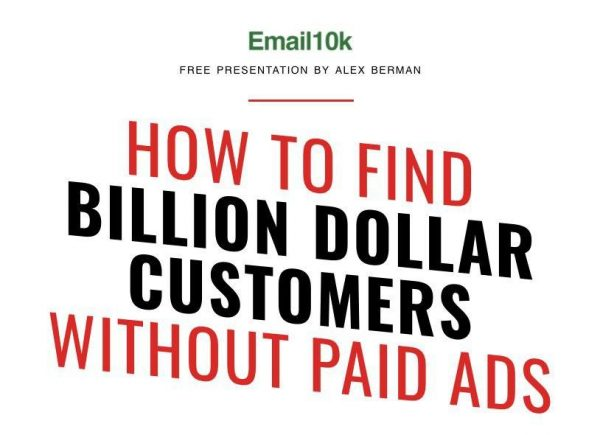 Email 10k Course by Alex Berman – Email 10k — Free download The Easiest, Best and Fastest Way to $100000 Deals Passively. Will this help me sell more? Most businesses don't sell enough because they target companies that can't afford them (mostly restaurants, dentists and other local businesses). I've found that in order to sell more for your company, you need to target companies that can afford to pay you… companies with over $5 million in revenue. How do i appeal to larger companies? We cover this in the presentation. It's a strategy you can start using right now to meet with Billion Dollar Brands and major companies that are dying to buy from you. What if i don't know what to sell? You can easily use this system to test your business ideas with actual customers, so you can find a business idea that appeals to the right customer and practically sells itself.